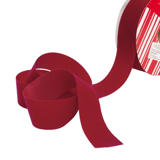 Christmas Ribbons & Bows - Ribbon Velvet Cut Edge Red (38mmx20m)
