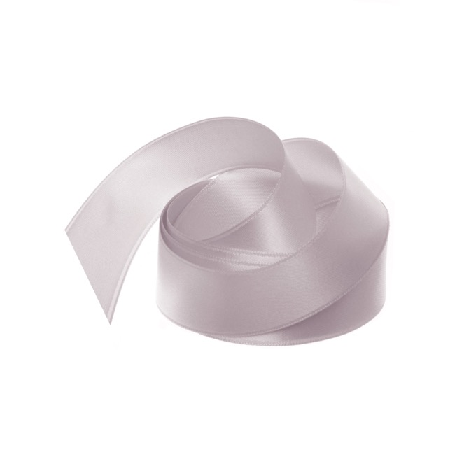 Satin Ribbons - Ribbon Satin Deluxe Double Faced Light Grey (25mmx25m)