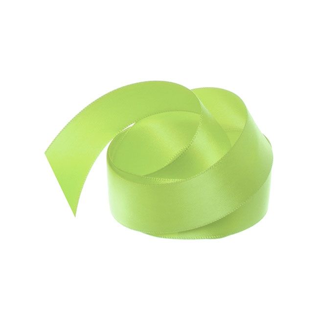 Satin Ribbons - Ribbon Satin Deluxe Double Faced Lime (25mmx25m)