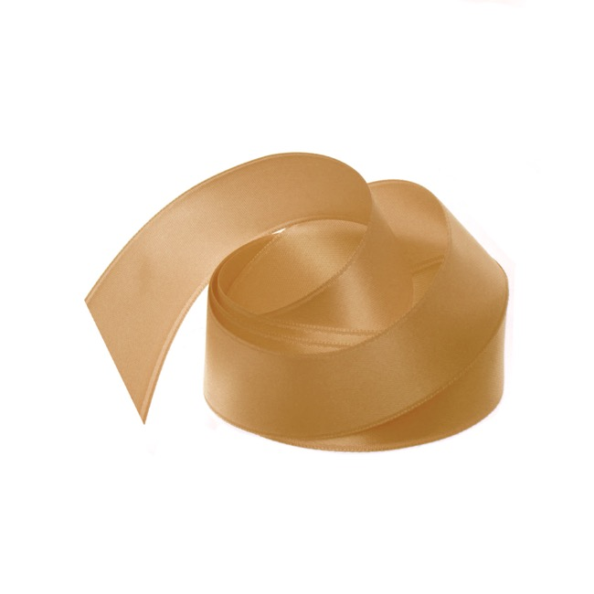 Satin Ribbons - Ribbon Satin Deluxe Double Faced New Gold (25mmx25m)