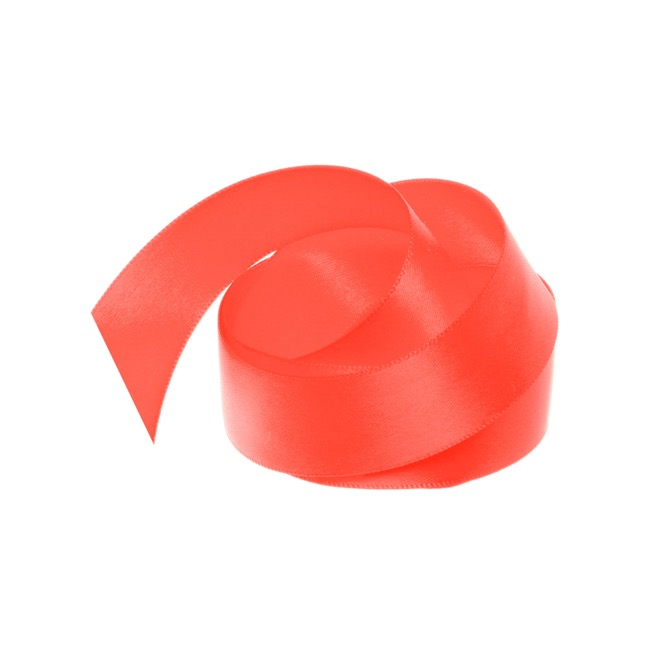 Satin Ribbons - Ribbon Satin Deluxe Double Faced Neon Coral (25mmx25m)