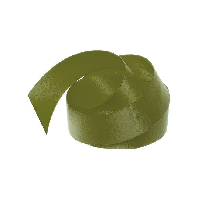 Satin Ribbons - Ribbon Satin Deluxe Double Faced Olive (25mmx25m)