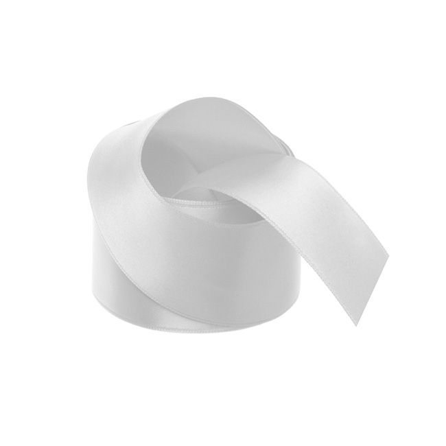 Satin Ribbons - Ribbon Satin Deluxe Double Faced Silver (38mmx25m)