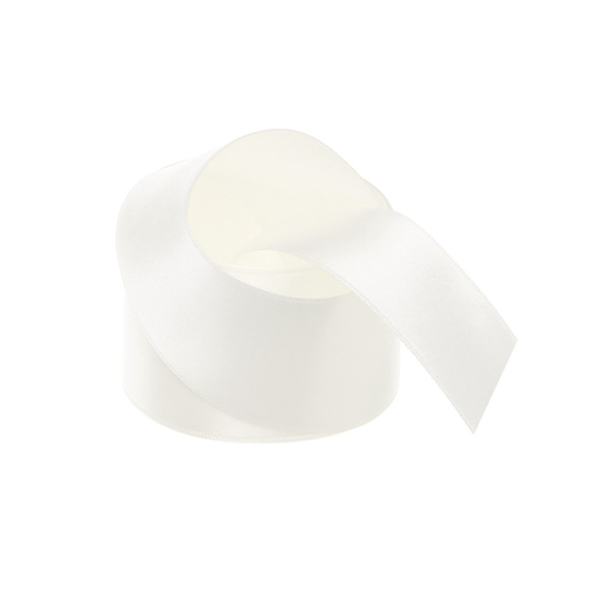 Ribbon Double Face Satin Bridal White (38mmx25m)