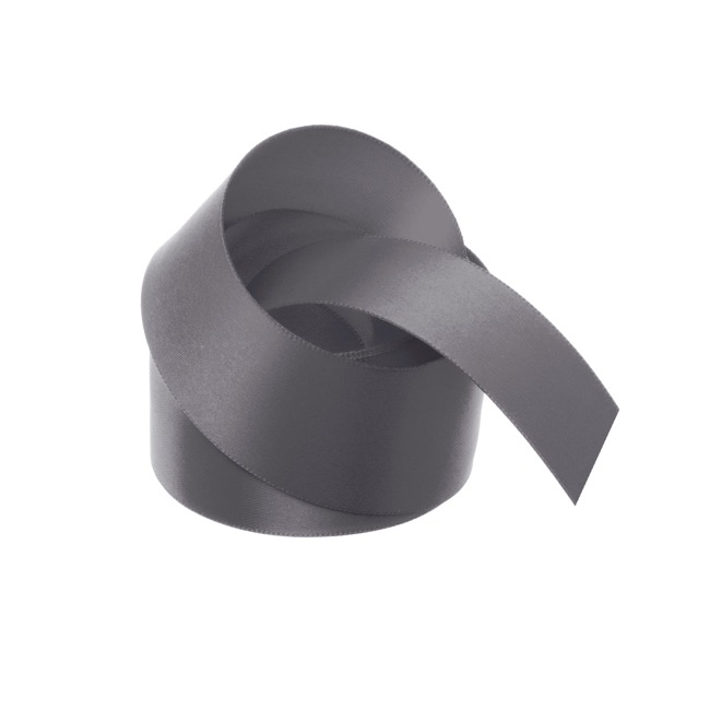 Satin Ribbons - Ribbon Satin Deluxe Double Faced Charcoal (38mmx25m)