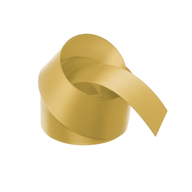 Satin Ribbons - Ribbon Satin Deluxe Double Faced Gold (38mmx25m)