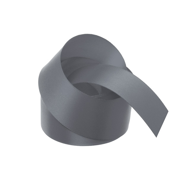 Satin Ribbons - Ribbon Satin Deluxe Double Faced Grey (38mmx25m)