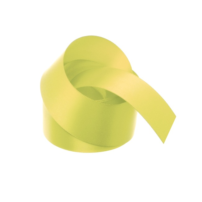Satin Ribbons - Ribbon Satin Deluxe Double Faced Lemon (38mmx25m)