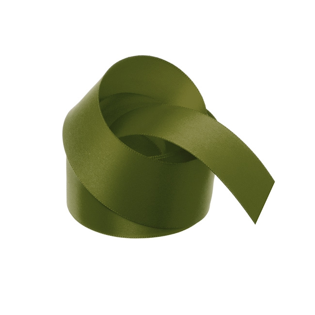 Satin Ribbons - Ribbon Satin Deluxe Double Faced Olive (38mmx25m)
