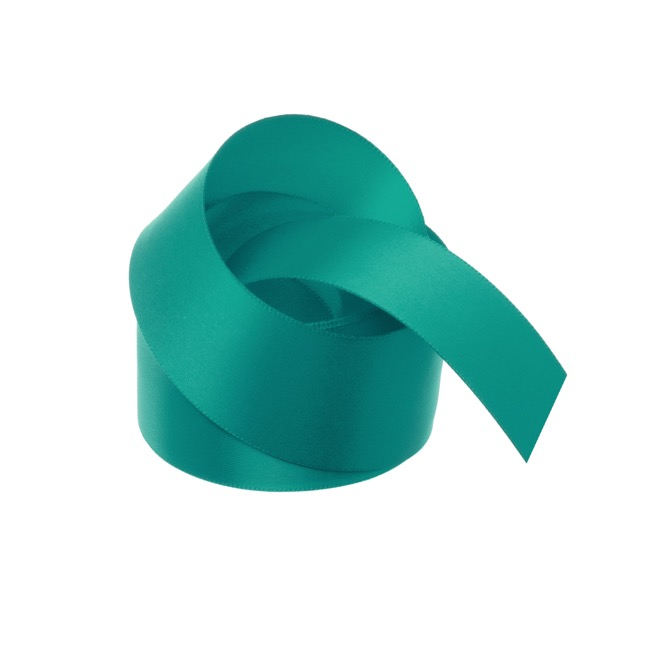 Satin Ribbons - Ribbon Satin Deluxe Double Faced Teal (38mmx25m)