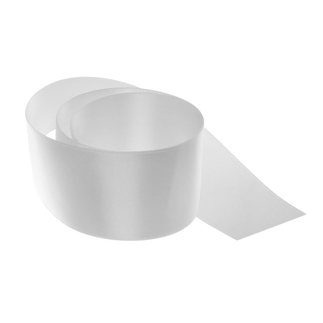 Satin Ribbons - Ribbon Satin Deluxe Double Faced Silver (50mmx25m)