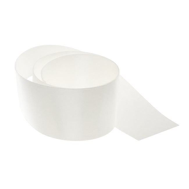 Satin Ribbons - Ribbon Satin Deluxe Double Faced Bridal White (50mmx25m)