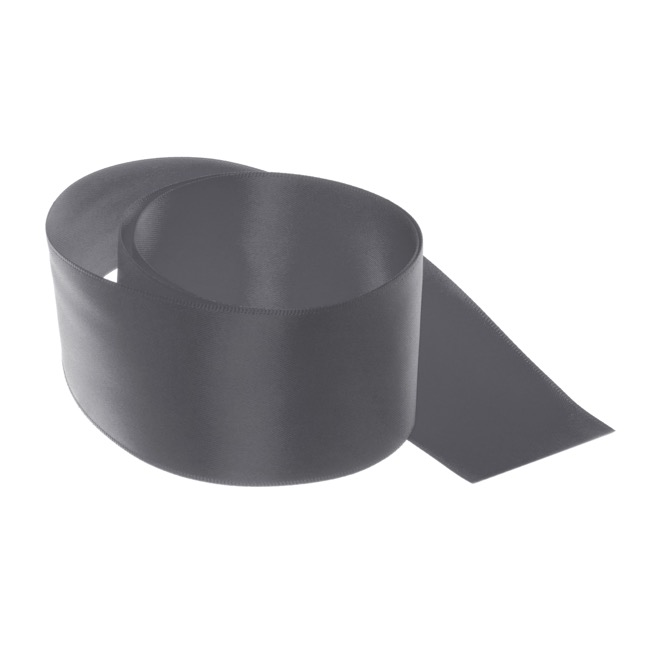 Satin Ribbons - Ribbon Satin Deluxe Double Faced Charcoal (50mmx25m)