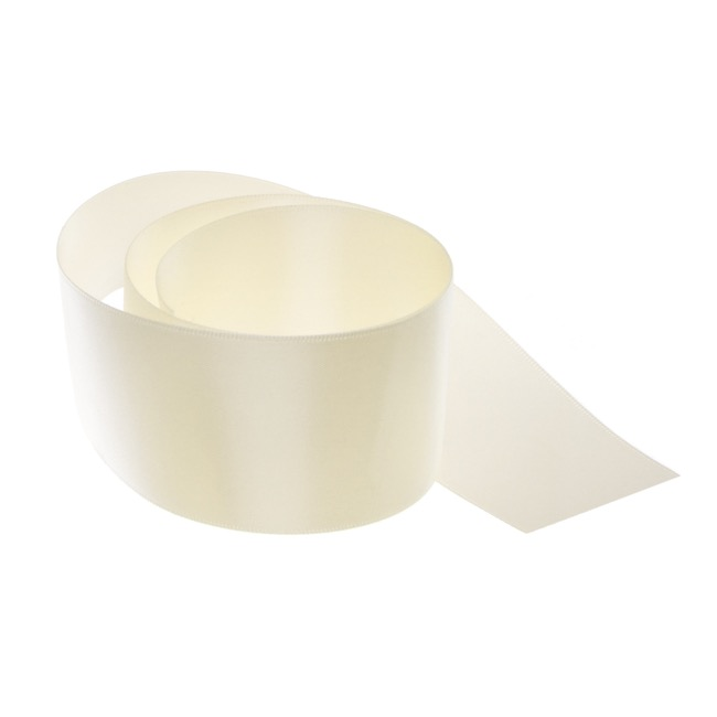 Satin Ribbons - Ribbon Satin Deluxe Double Faced Ivory (50mmx25m)