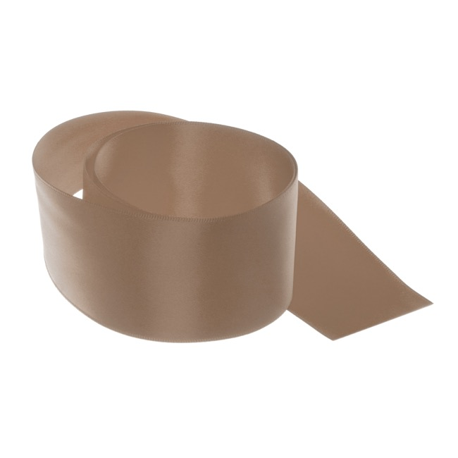 Satin Ribbons - Ribbon Satin Deluxe Double Faced Latte (50mmx25m)