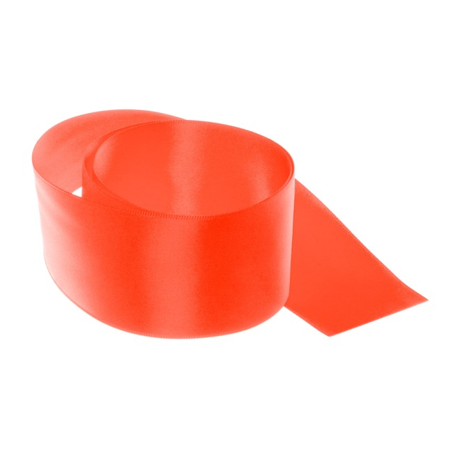 Satin Ribbons - Ribbon Satin Deluxe Double Faced Neon Coral (50mmx25m)