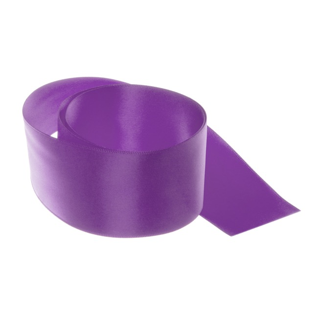 Satin Ribbons - Ribbon Satin Deluxe Double Faced Purple (50mmx25m)