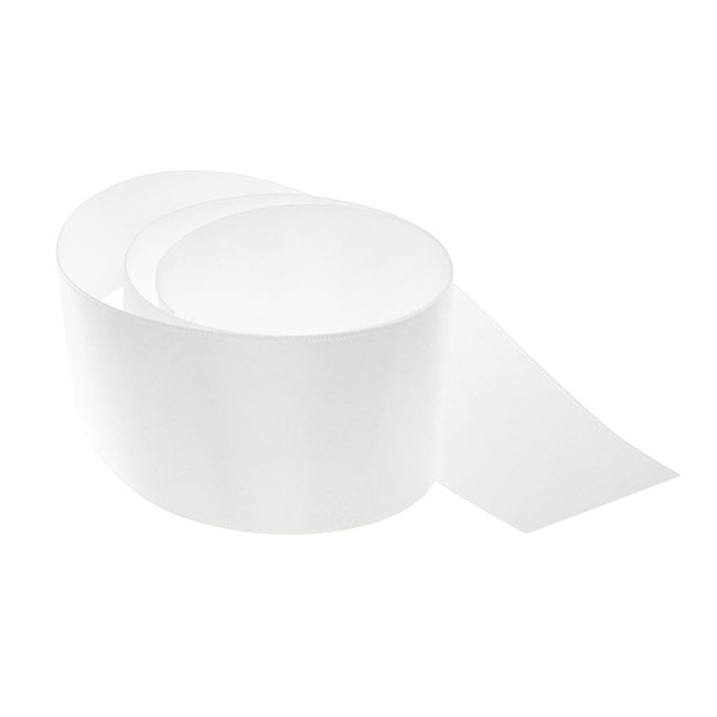 Satin Ribbons - Ribbon Satin Deluxe Double Faced White (50mmx25m)