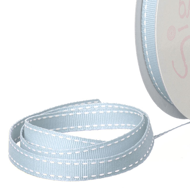 Grosgrain Ribbons - Ribbon Grosgrain Saddle Stitch Baby Blue (10mmx20m)