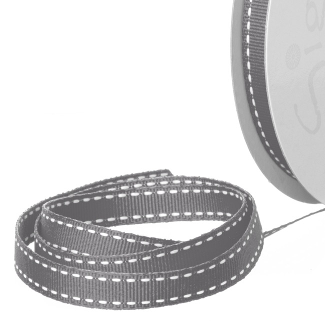 Grosgrain Ribbons - Ribbon Grosgrain Saddle Stitch Charcoal (10mmx20m)