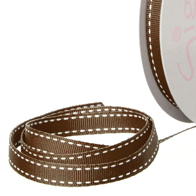 Ribbon Grosgrain Saddle Stitch Chocolate (10mmx20m)