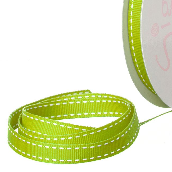 Ribbon Grosgrain Saddle Stitch Lime (10mmx20m)