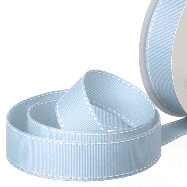 Ribbon Grosgrain Saddle Stitch Baby Blue (25mmx20m)