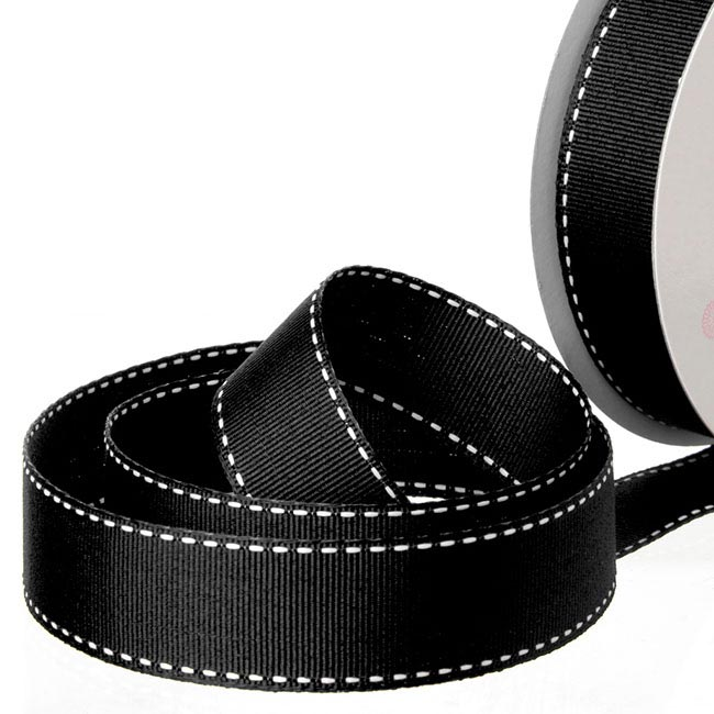 Ribbon Grosgrain Saddle Stitch Black (25mmx20m)