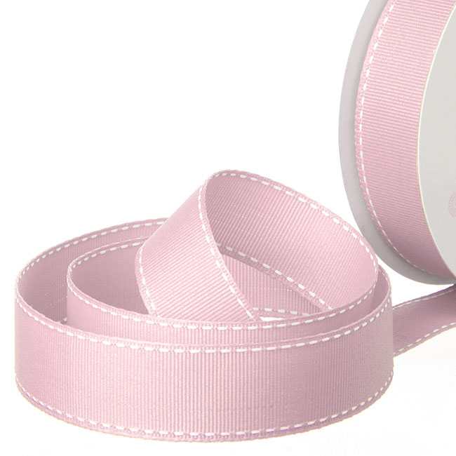 Grosgrain Ribbons - Ribbon Grosgrain Saddle Stitch Baby Pink (25mmx20m)
