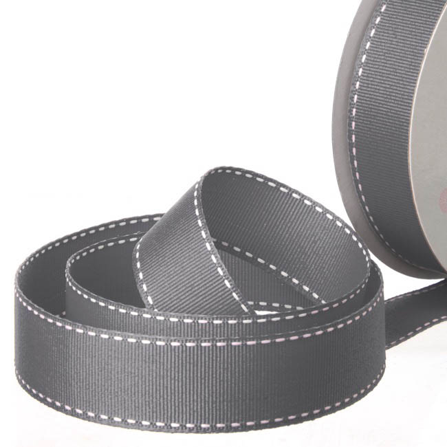 Grosgrain Ribbons - Ribbon Grosgrain Saddle Stitch Charcoal (25mmx20m)