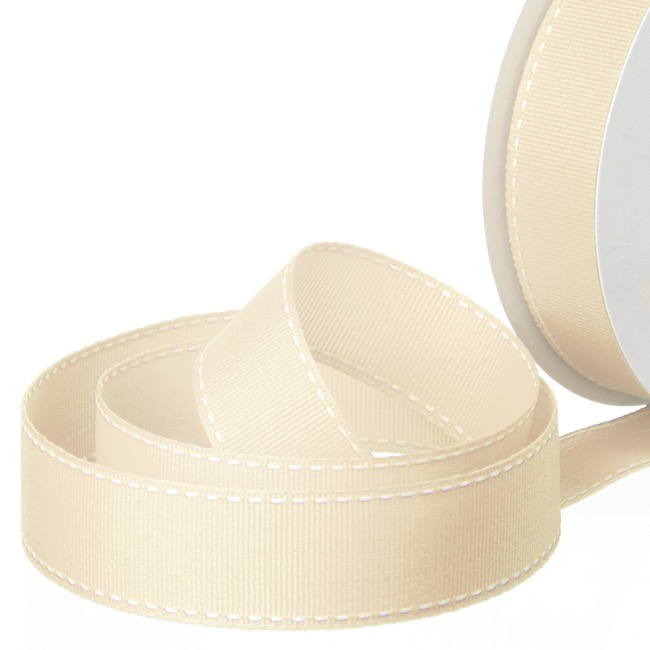 Grosgrain Ribbons - Ribbon Grosgrain Saddle Stitch Cream (25mmx20m)