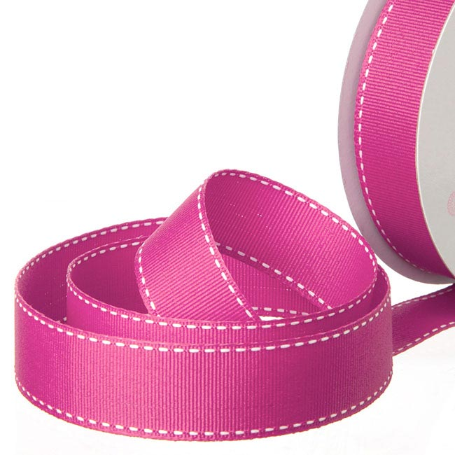 Grosgrain Ribbons - Ribbon Grosgrain Saddle Stitch Hot Pink (25mmx20m)