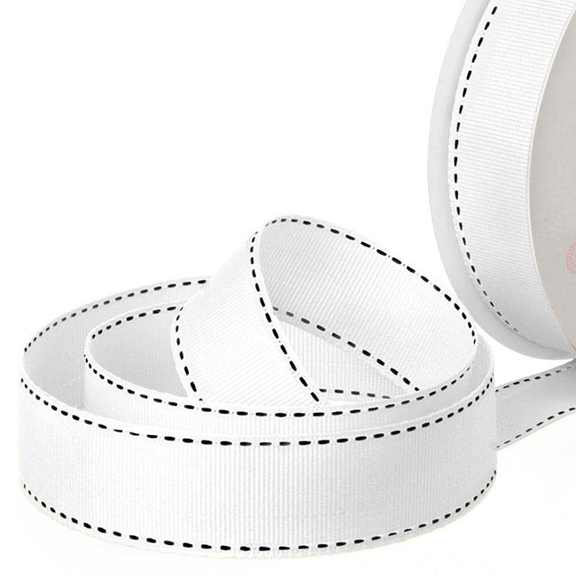 Ribbon Grosgrain Saddle Stitch White (25mmx20m)