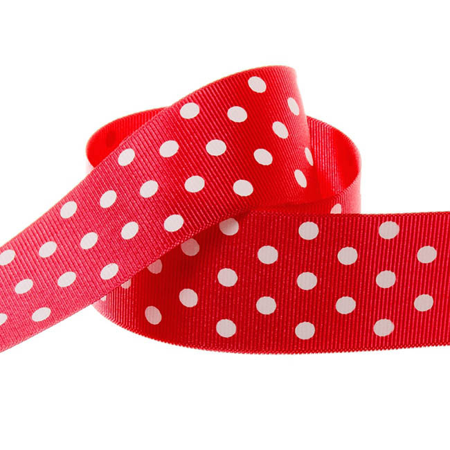 Ribbon Grosgrain Polka Dots Red (38mmx20m)