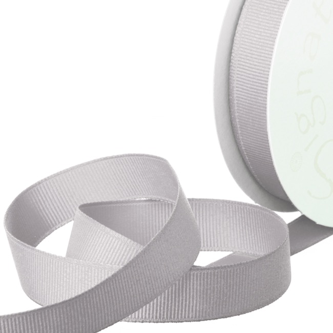 Grosgrain Ribbons - Ribbon Plain Grosgrain Light Grey (15mmx20m)