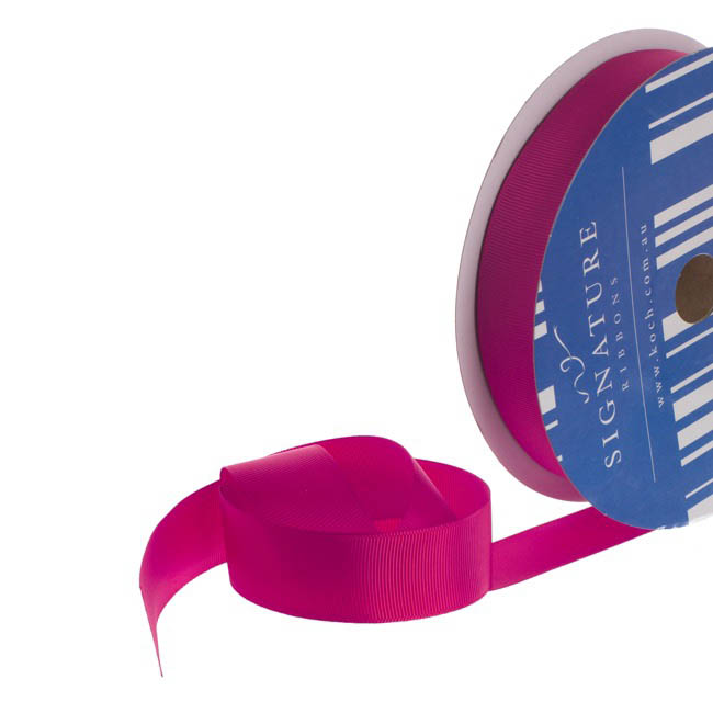 Grosgrain Ribbons - Bulk Grosgrain Ribbon Plain Hot Pink (25mmx50m)