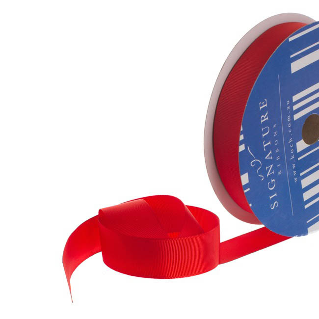 Bulk Grosgrain Ribbon Plain Red (25mmx50m)