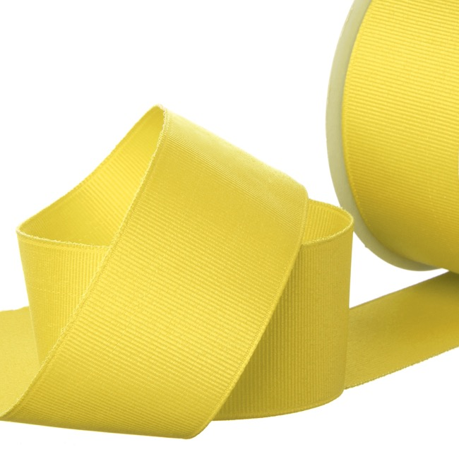 Grosgrain Ribbons - Ribbon Plain Grosgrain Lemon (38mmx20m)