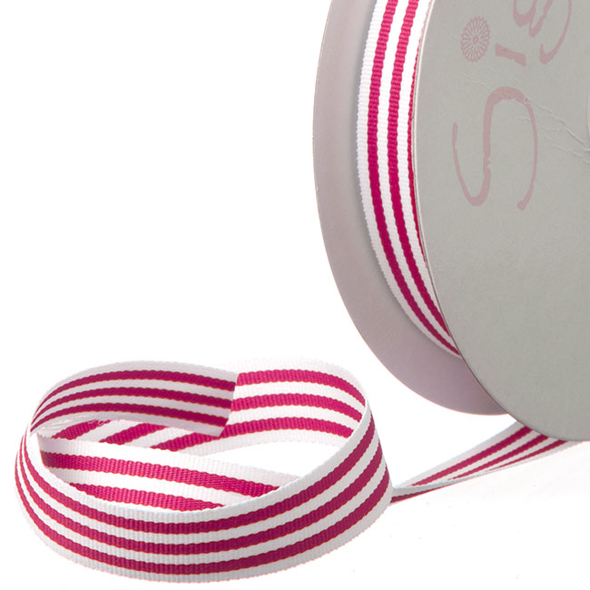 Grosgrain Ribbons - Ribbon Grosgrain Stripes Hot Pink (15mmx20m)