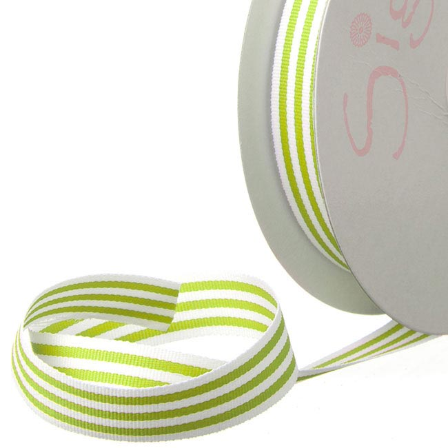 Ribbon Grosgrain Stripes Lime (15mmx20m)