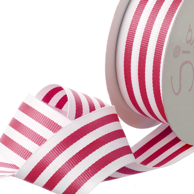 Grosgrain Ribbons - Ribbon Grosgrain Stripes Hot Pink (38mmx20m)