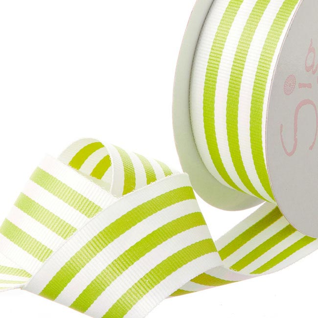 Grosgrain Ribbons - Ribbon Grosgrain Stripes Lime Green (38mmx20m)