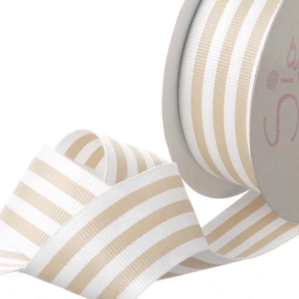 Ribbon Grosgrain Stripes Natural (38mmx20m)