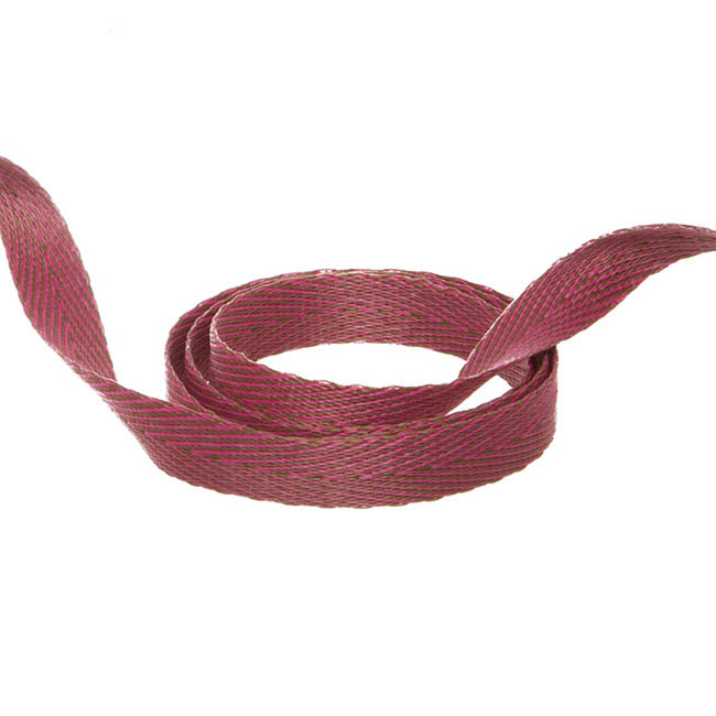 Herringbone Twill Ribbon - Duo Herringbone Ribbon Hot Pink & Latte (10mmx20m)