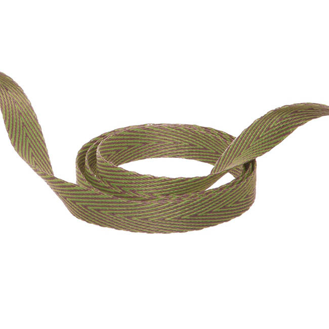 Herringbone Twill Ribbon - Duo Herringbone Ribbon Lime & Latte (10mmx20m)