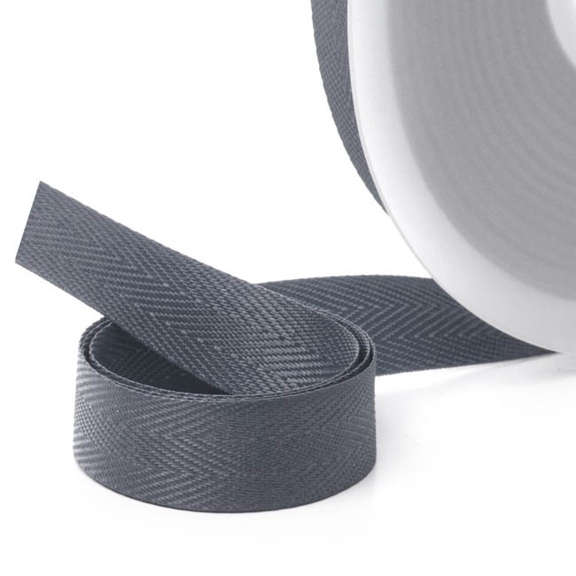 Herringbone Twill Ribbon - Ribbon Twill Herringbone Charcoal (15mmx20m)
