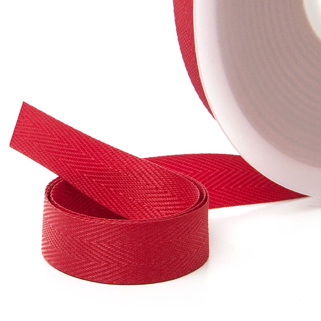 Ribbon Twill Herringbone Red (15mmx20m)