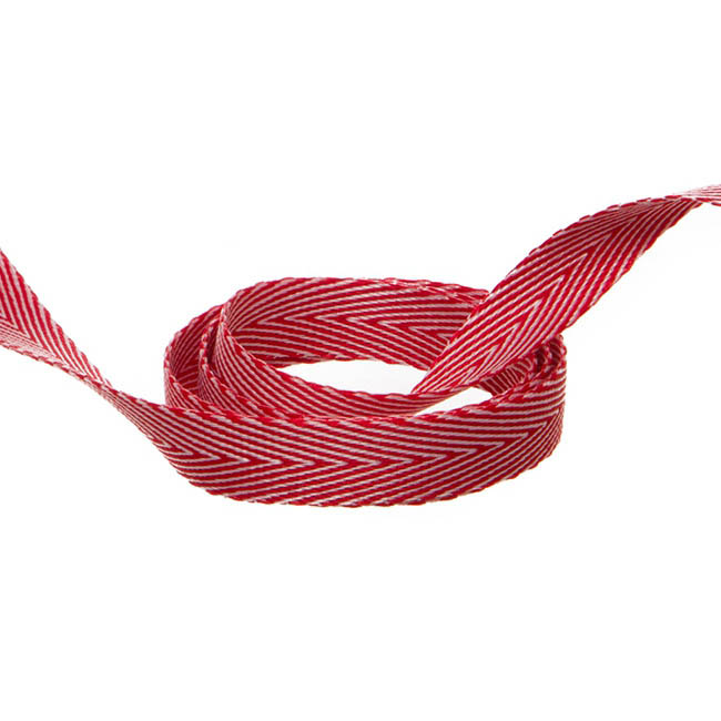Duo Herringbone Ribbon Red & White (10mmx20m)