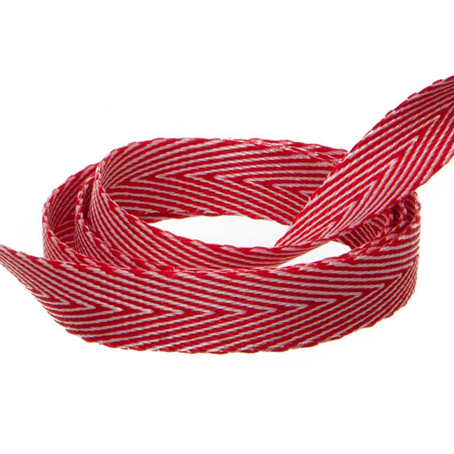 Herringbone Twill Ribbon - Duo Herringbone Ribbon Red & White (10mmx20m)
