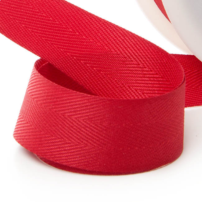 Herringbone Twill Ribbon - Ribbon Twill Herringbone Red (25mmx20m)